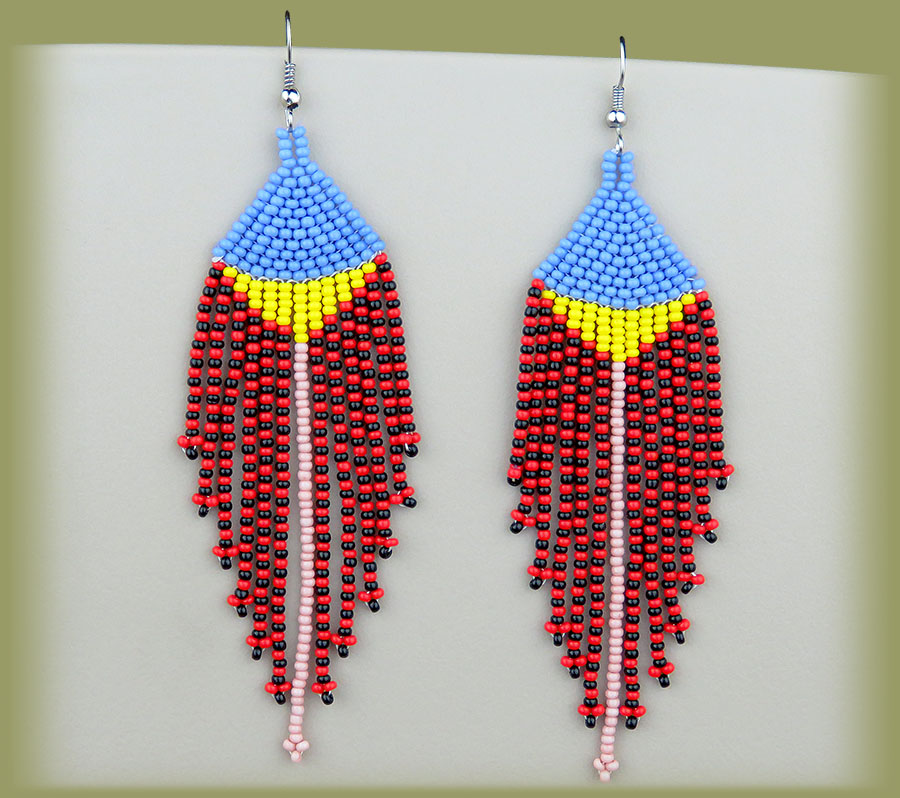 African Beaded Earrings Long Tassel Blue Yellow Pink Red Black