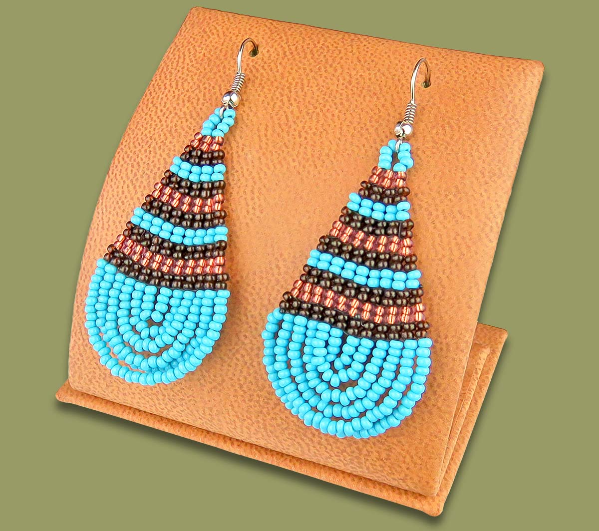 Large Beaded Ear Rings Tear Drop Aqua Copper Chocolate