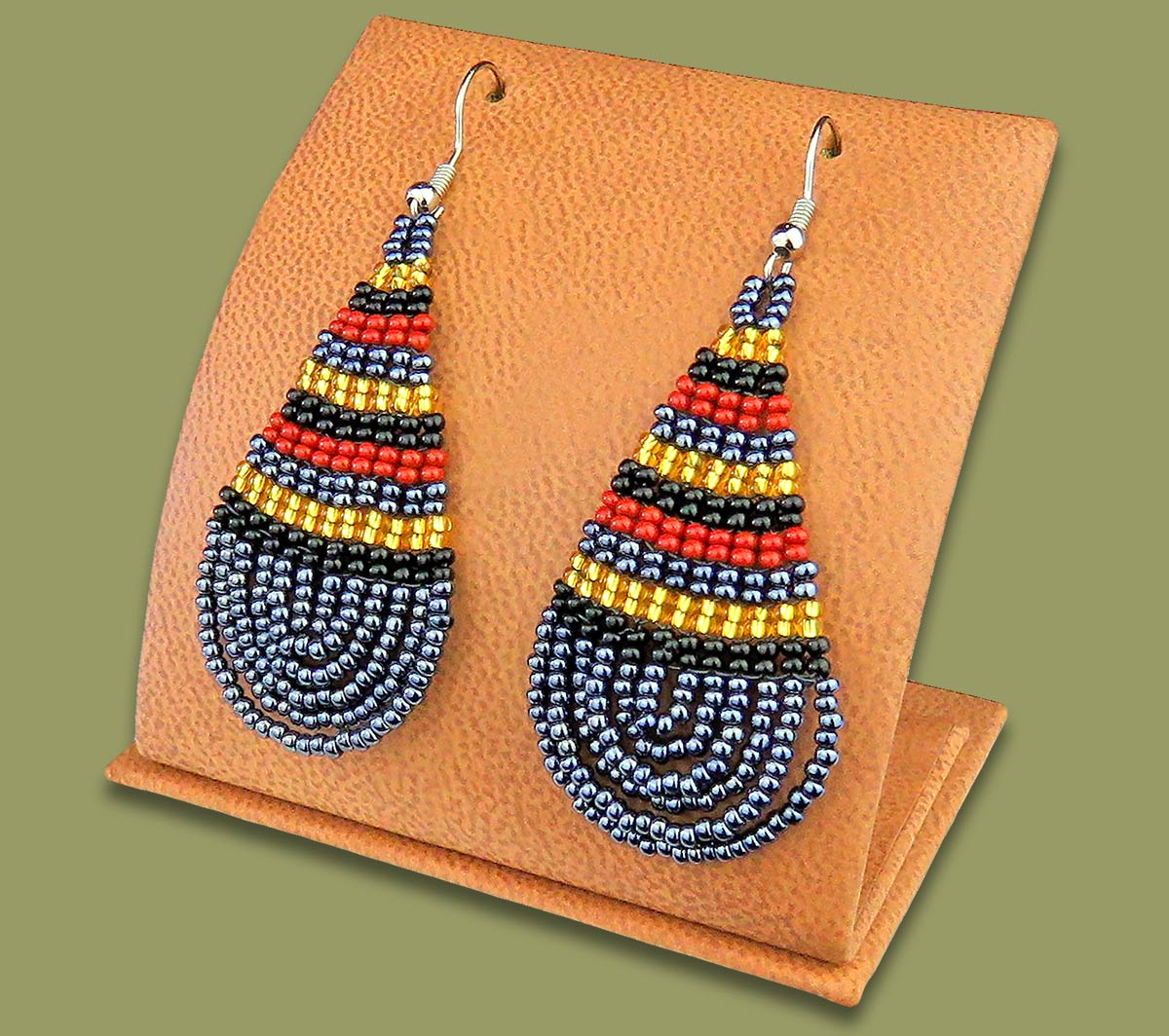 Large Beaded Ear Rings Tear Drop Brown Black Gold Metallic