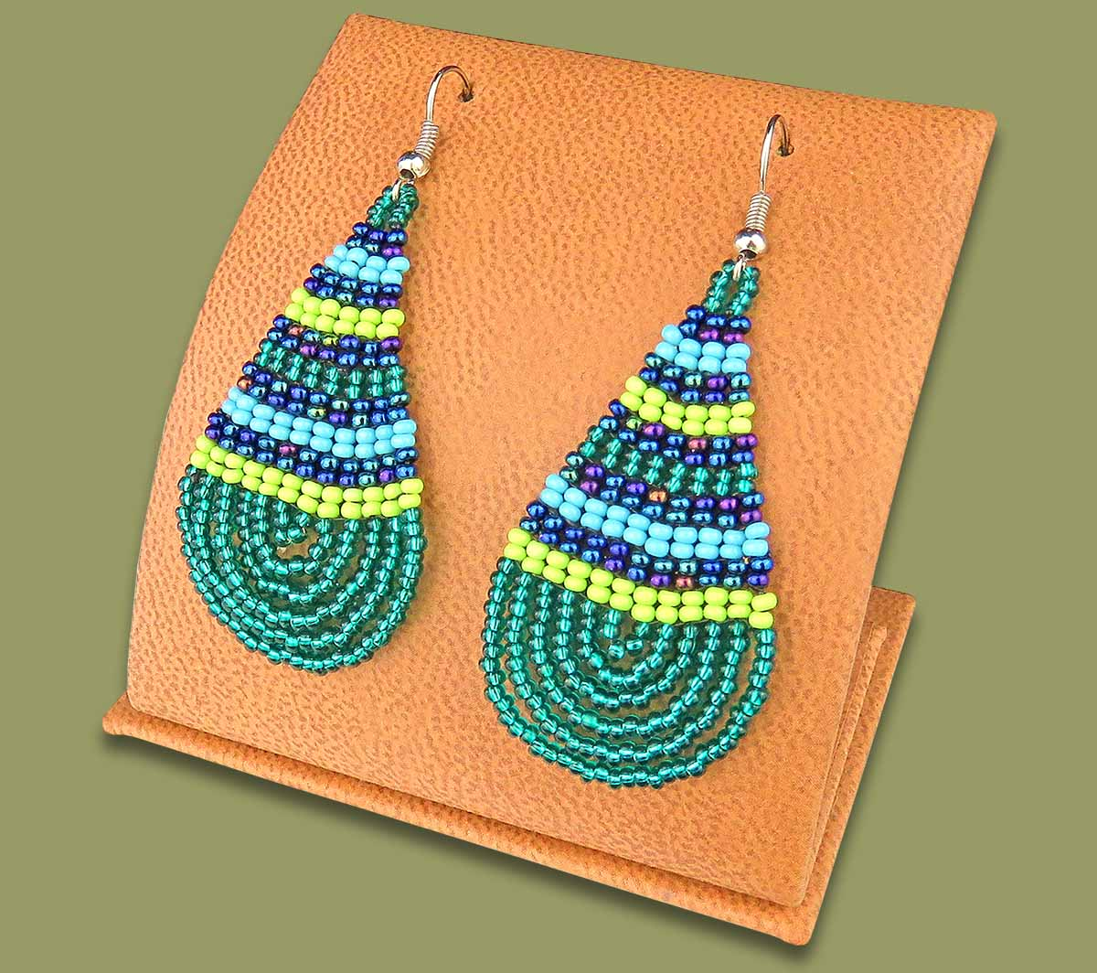 Large Beaded Ear Rings Tear Drop Lime Navy Blue Jade