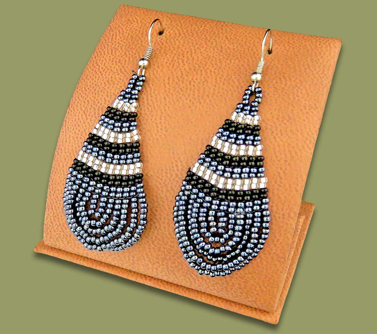 Large Beaded Ear Rings Tear Drop Metallic Silver Black