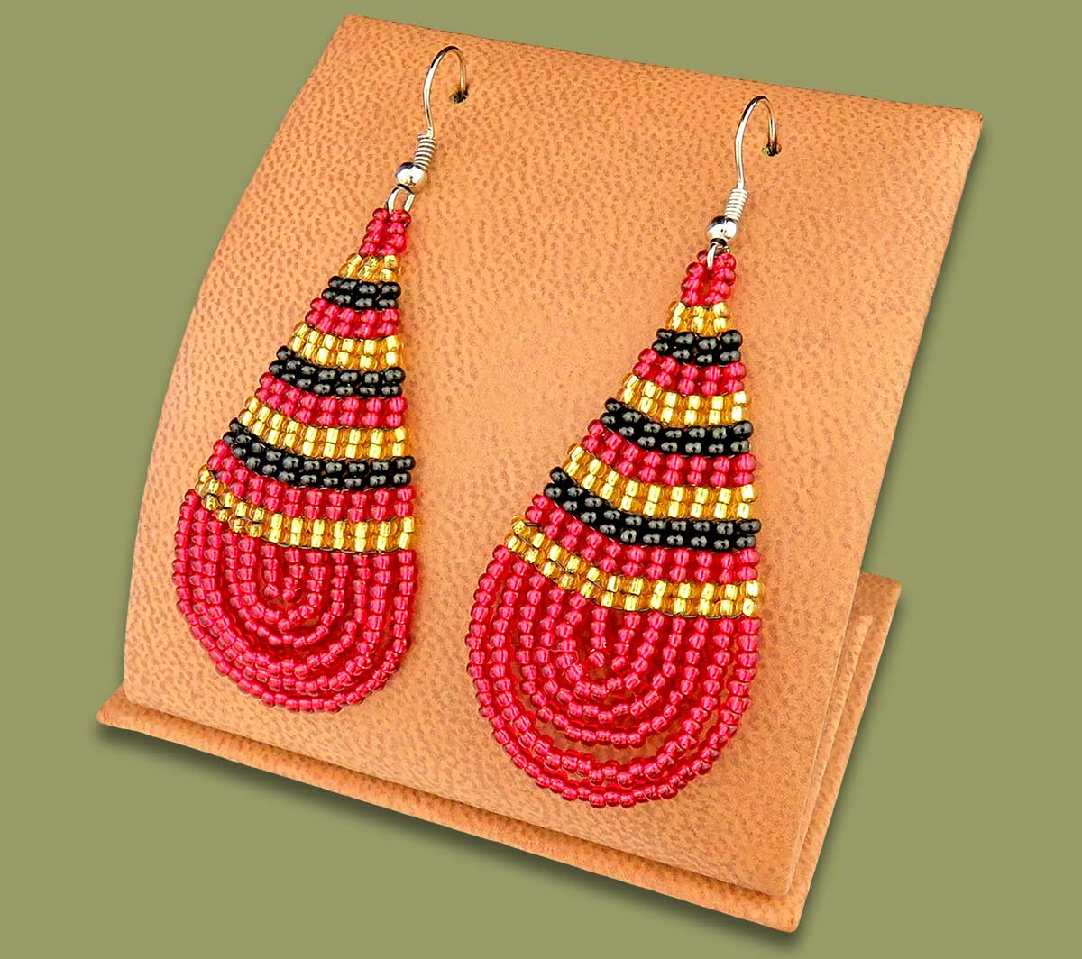 Large Beaded Ear Rings Tear Drop Red Black Gold