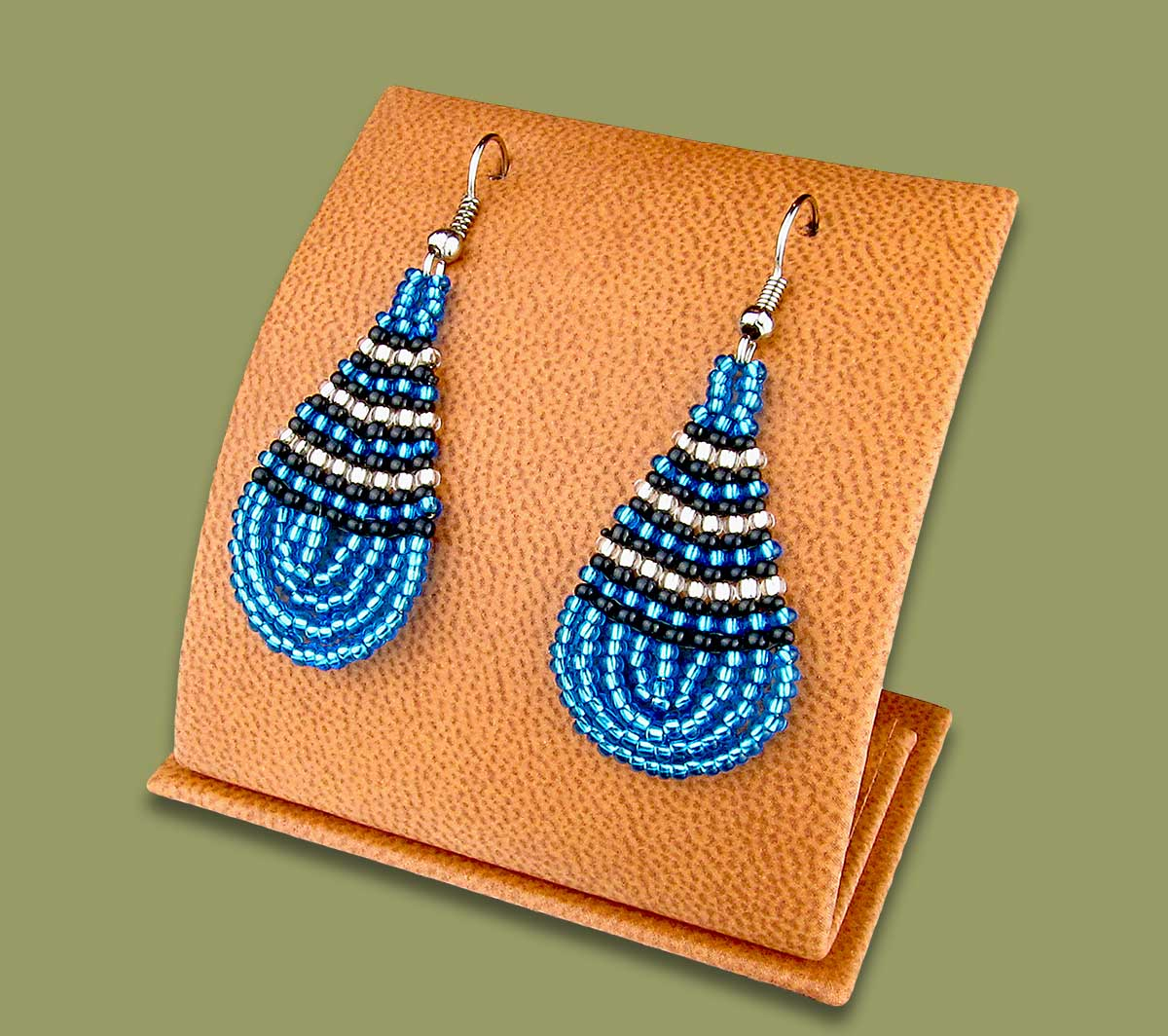 Small Beaded Ear Rings Tear Drop Blue Silver Black