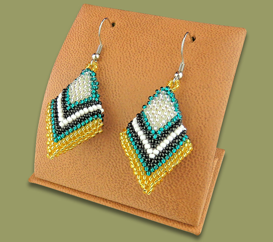 African Beaded Earrings Zulu Diamond GOLD TEAL BLACK WHITE SILVER