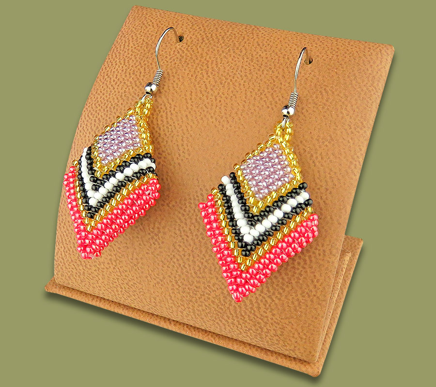 African Beaded Earrings Zulu Diamond PINK GOLD BLACK WHITE LILAC
