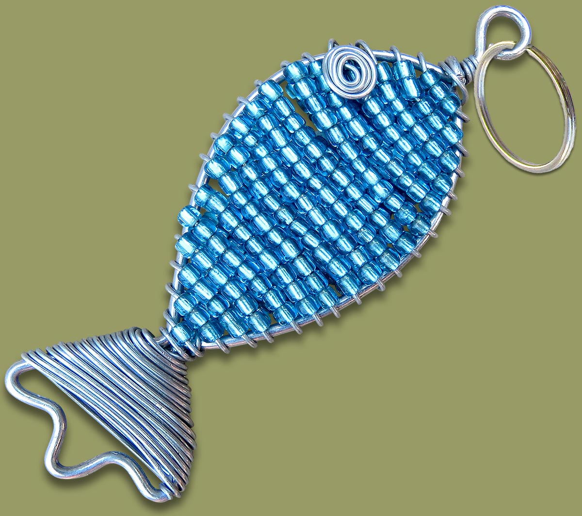 African Beaded Keyring Fish