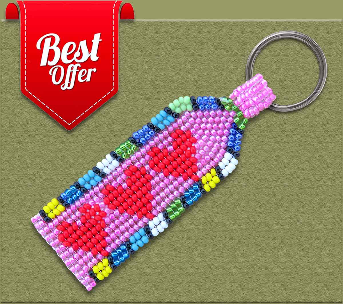 ON SPECIAL African Beaded Heart Keyring