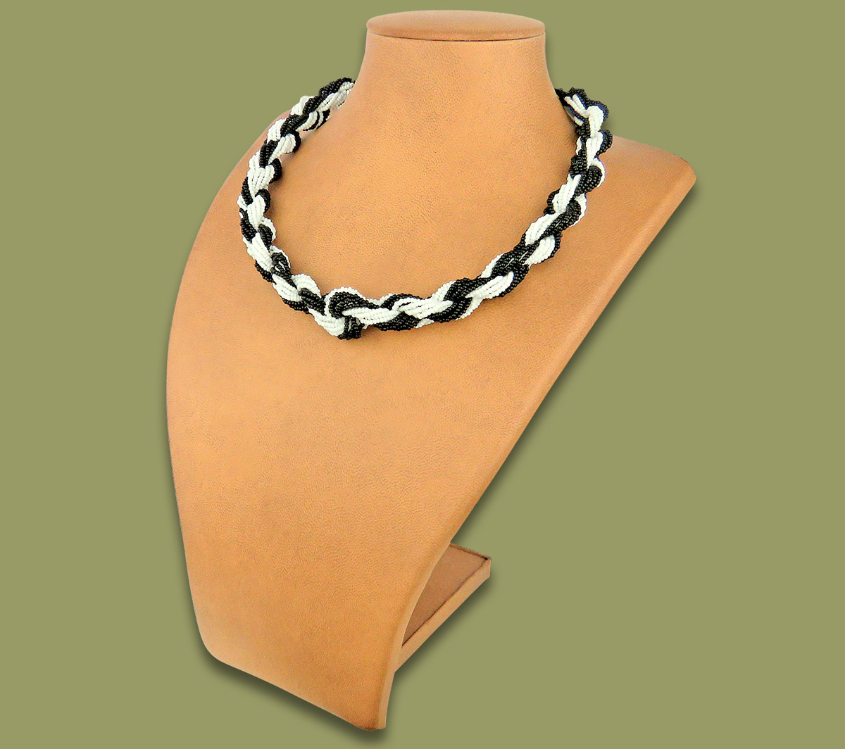 African Beaded Necklace Khanyo Black White