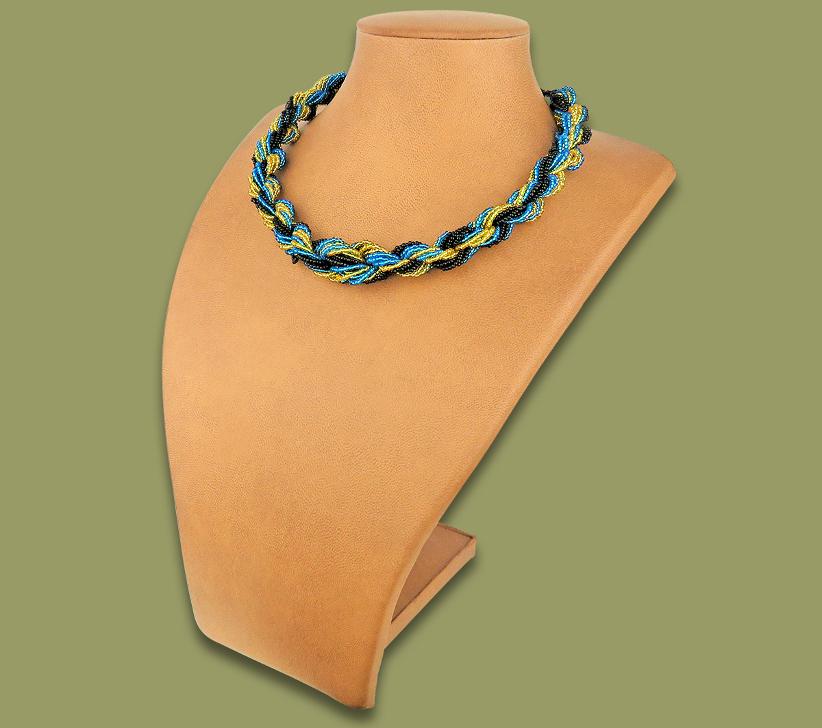 African Beaded Necklace Khanyo Blue Gold Black