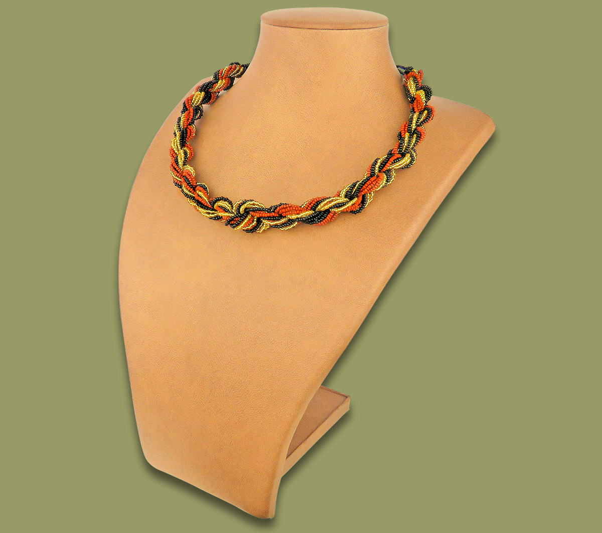 African Beaded Necklace Khanyo Brown Gold Black