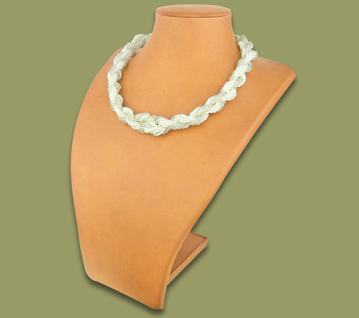 African Beaded Necklace Khanyo White Silver