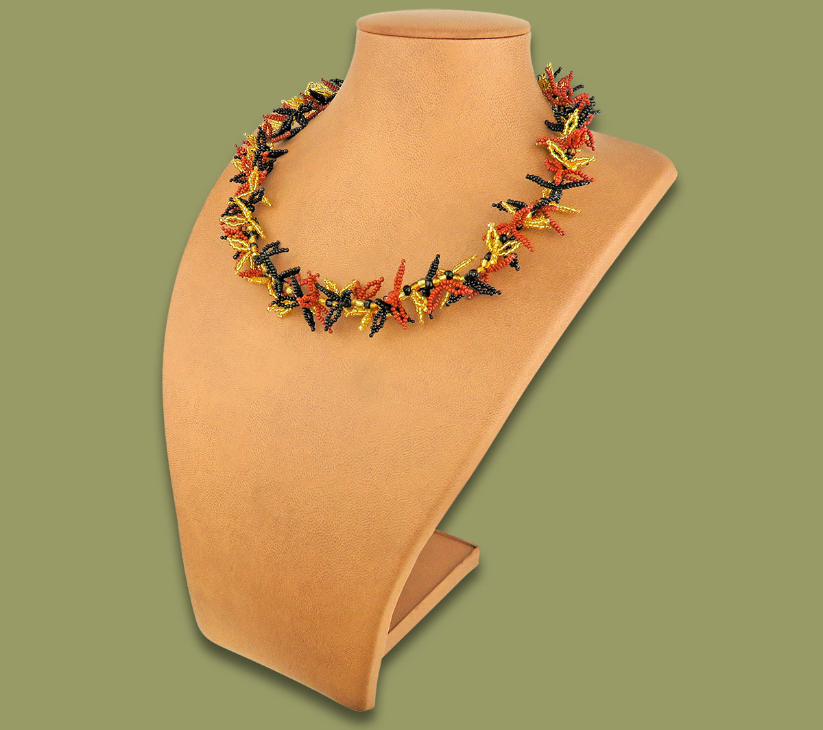 African Beaded Necklace Moyo Brown Gold Black
