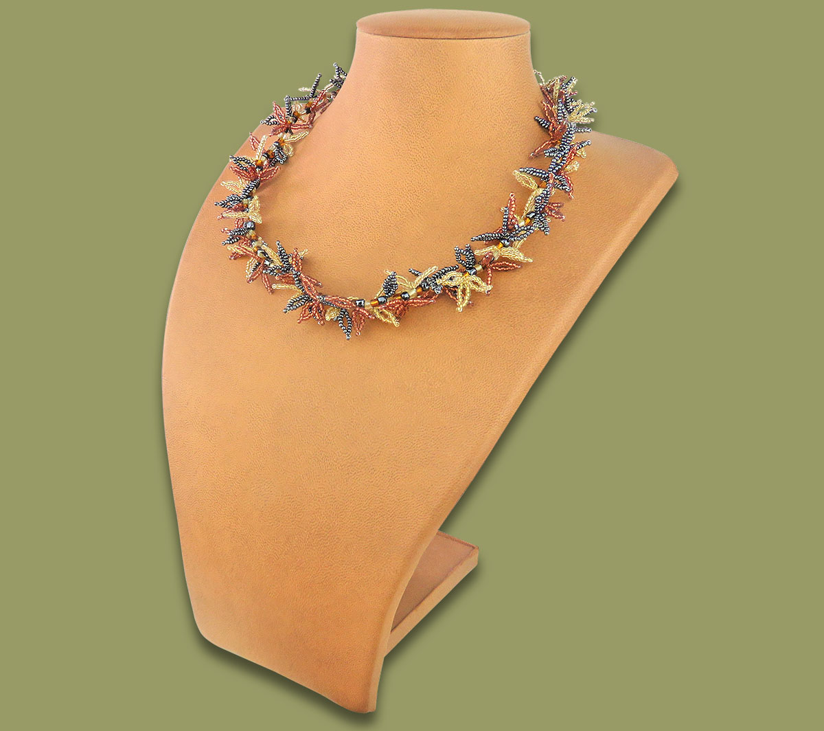 African Beaded Necklace Moyo Copper Metallic White-Gold