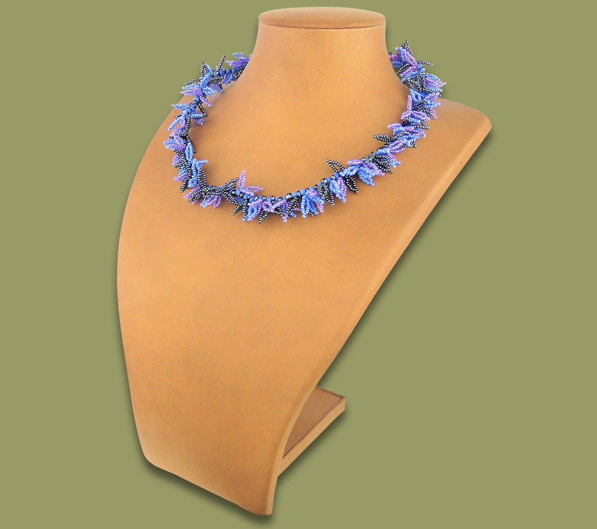 African Beaded Necklace Moyo Lillac Blue Metallic
