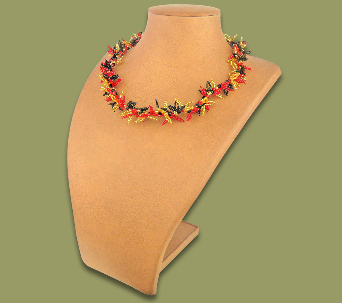 African Beaded Necklace Moyo Red Gold Black