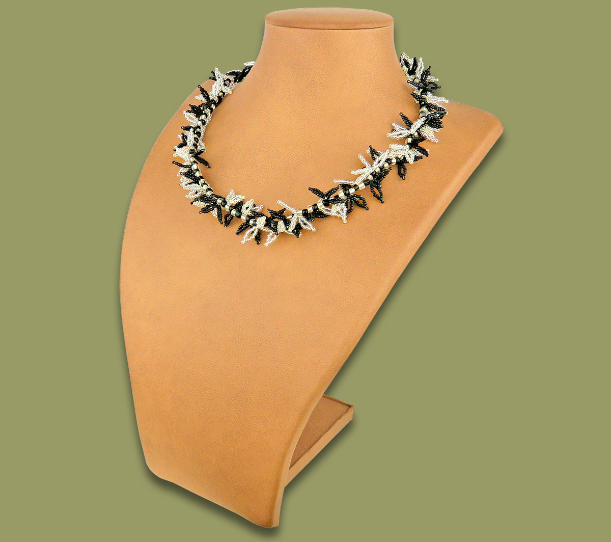 African Beaded Necklace Moyo Silver Black