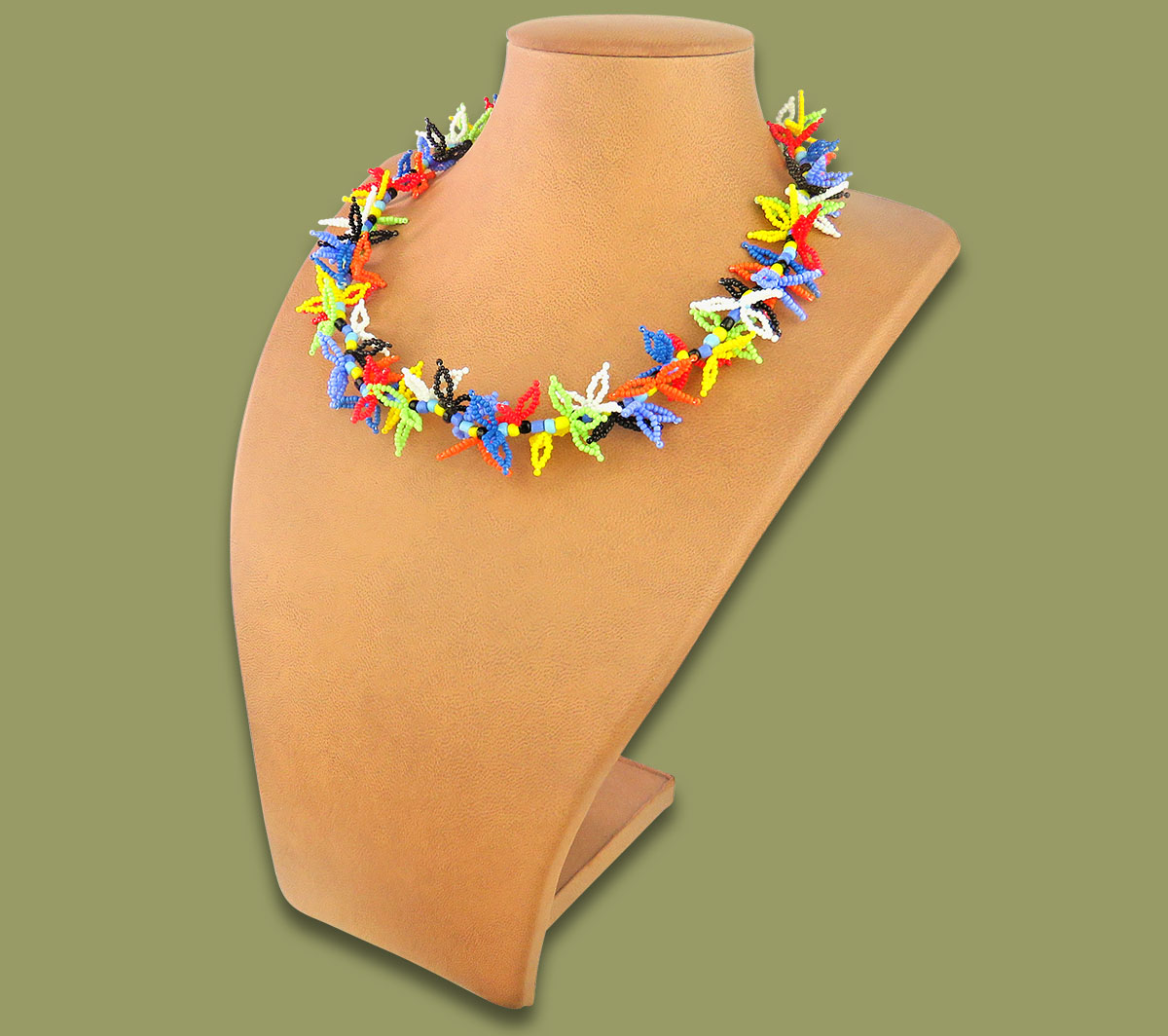 African Beaded Necklace Moyo African Colours