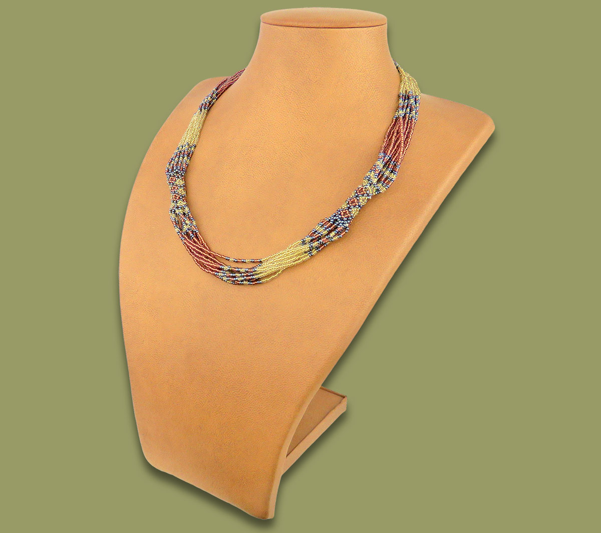 African Beaded Necklace Mvovo Copper Metallic White-Gold