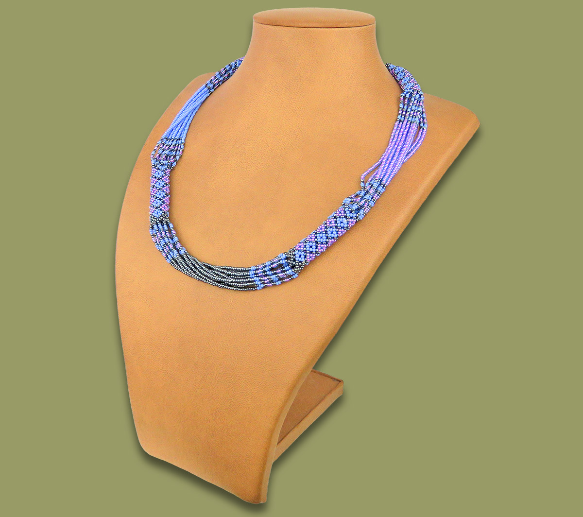 African Beaded Necklace Mvovo Lillac Blue Metallic