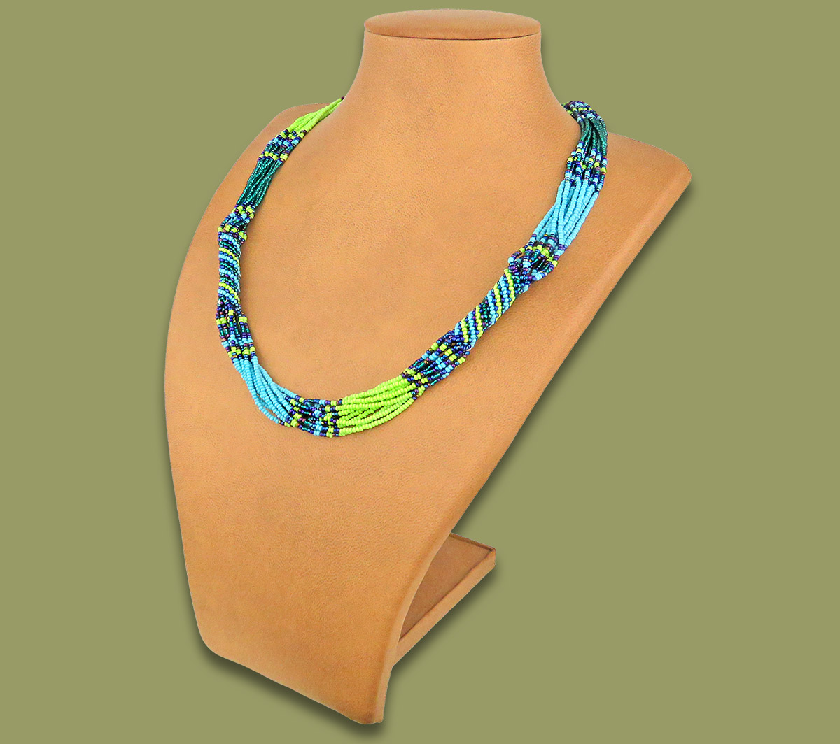 African Beaded Necklace Mvovo Lime Navy Blue Jade
