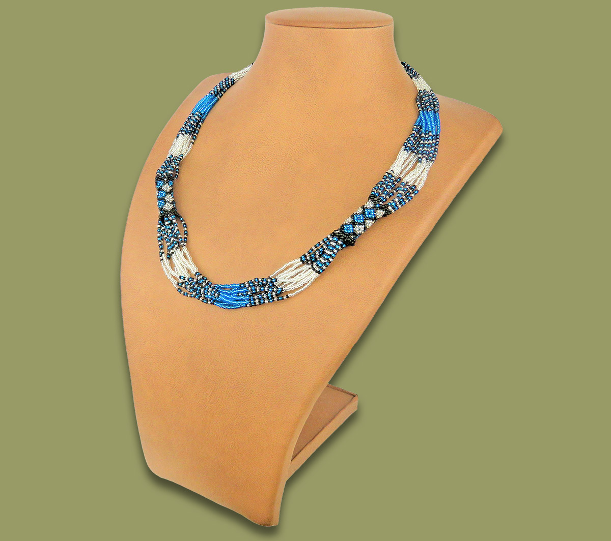 African Beaded Necklace Mvovo Blue Silver Black