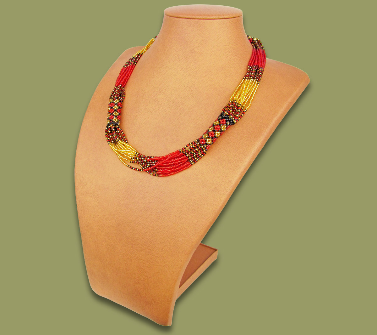 African Beaded Necklace Mvovo Red Gold Black