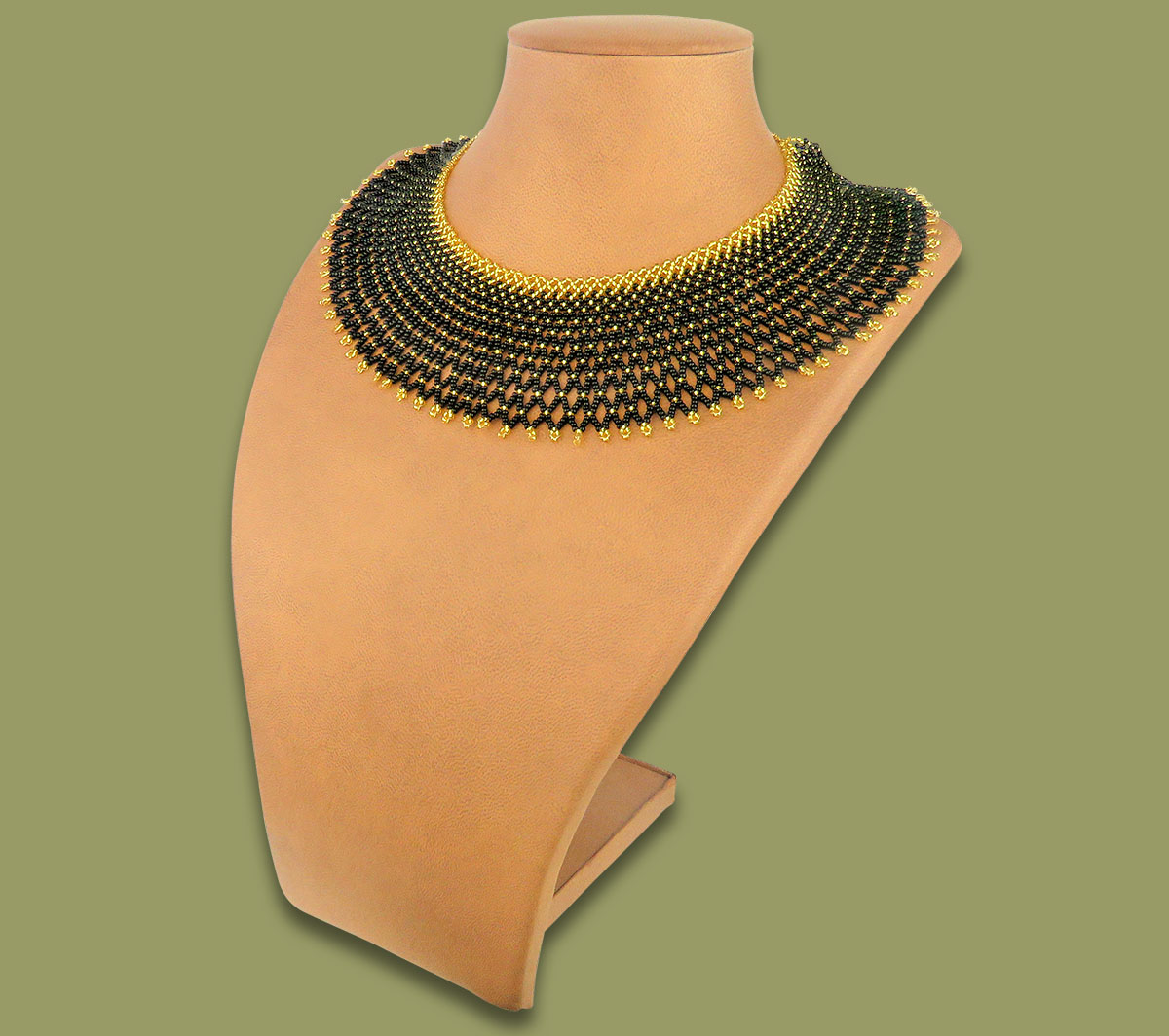 African Beaded Necklace Ntombi Black Gold