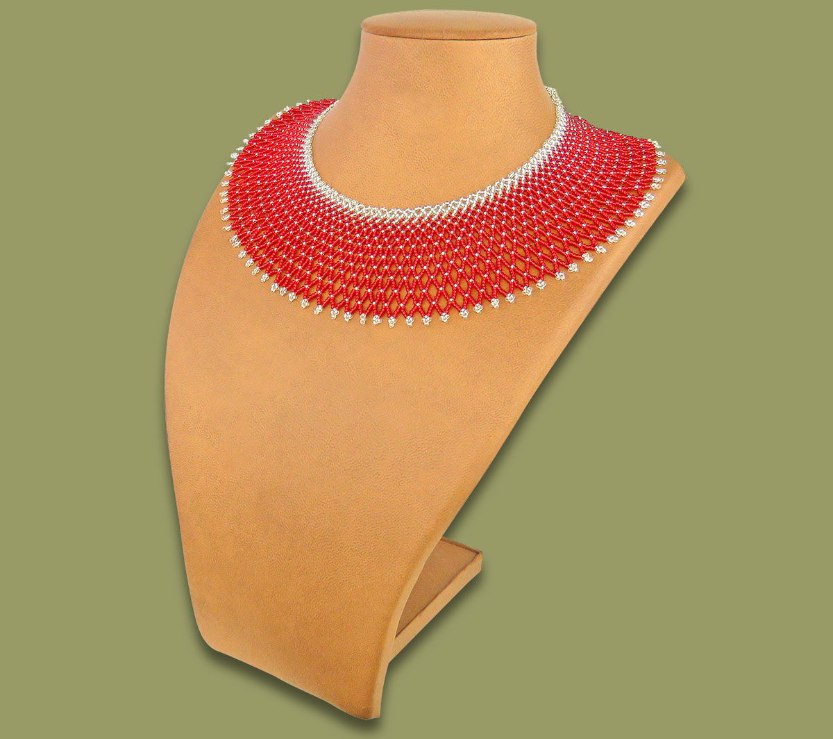 African Beaded Necklace Ntombi Red Silver