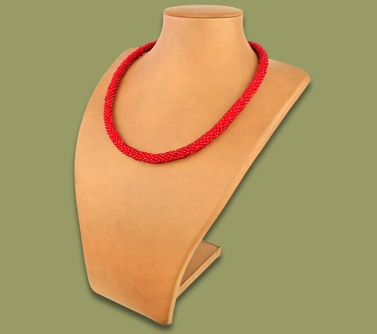 African Beaded Rope Necklace Shimmering Red