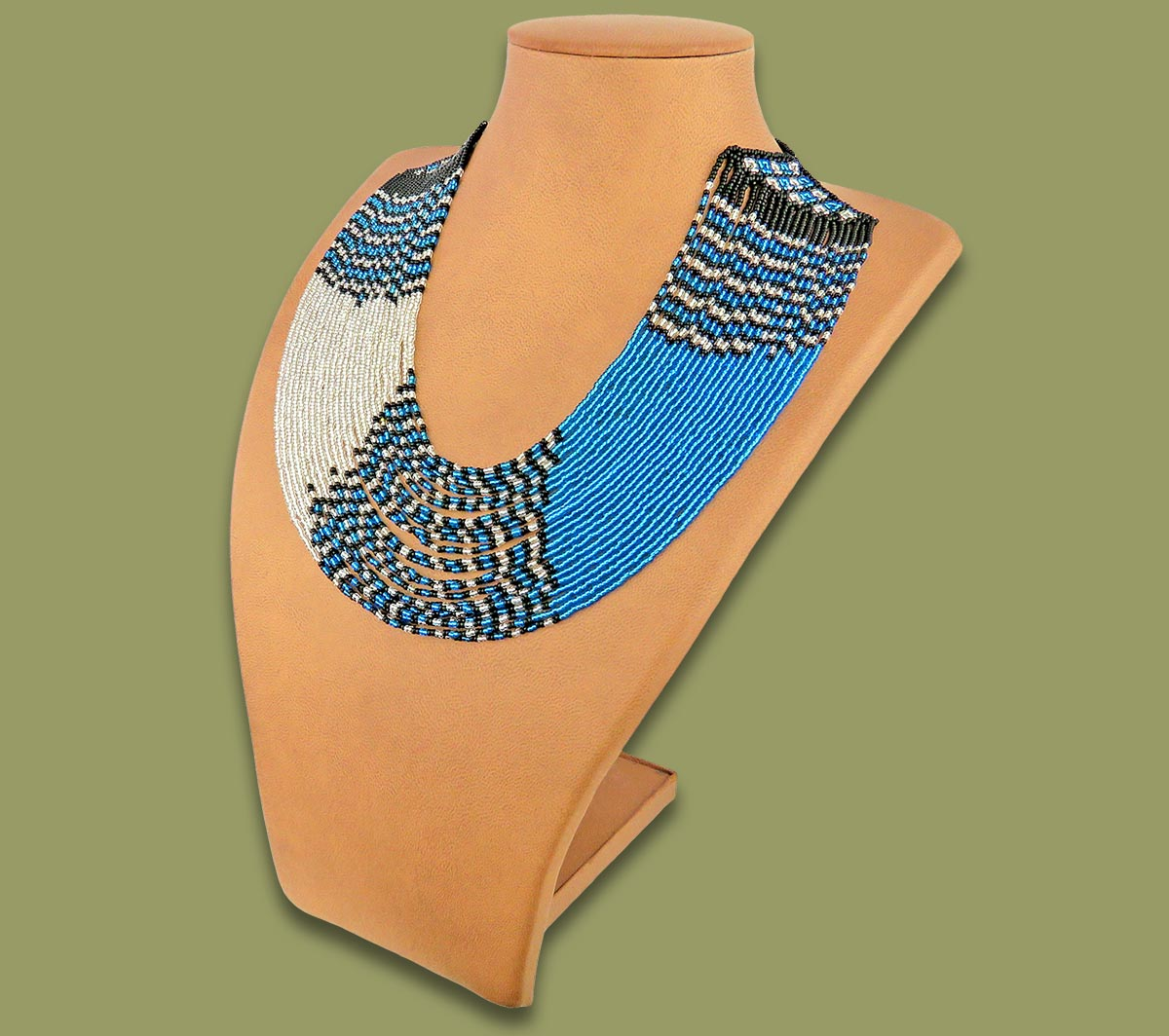Beaded Necklace Sibaya Blue Silver Black