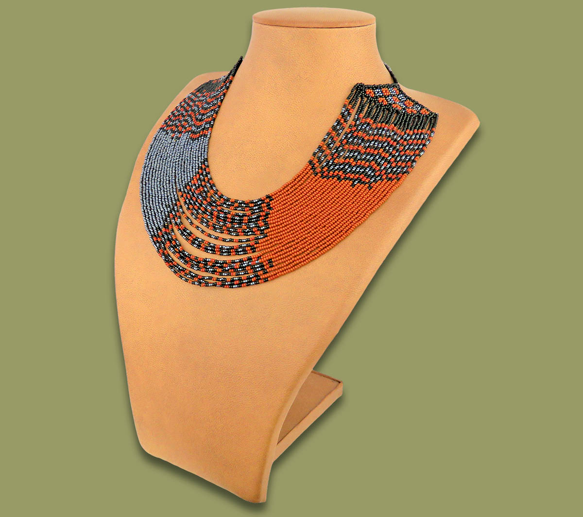 Beaded Necklace Sibaya Brown Black Metallic