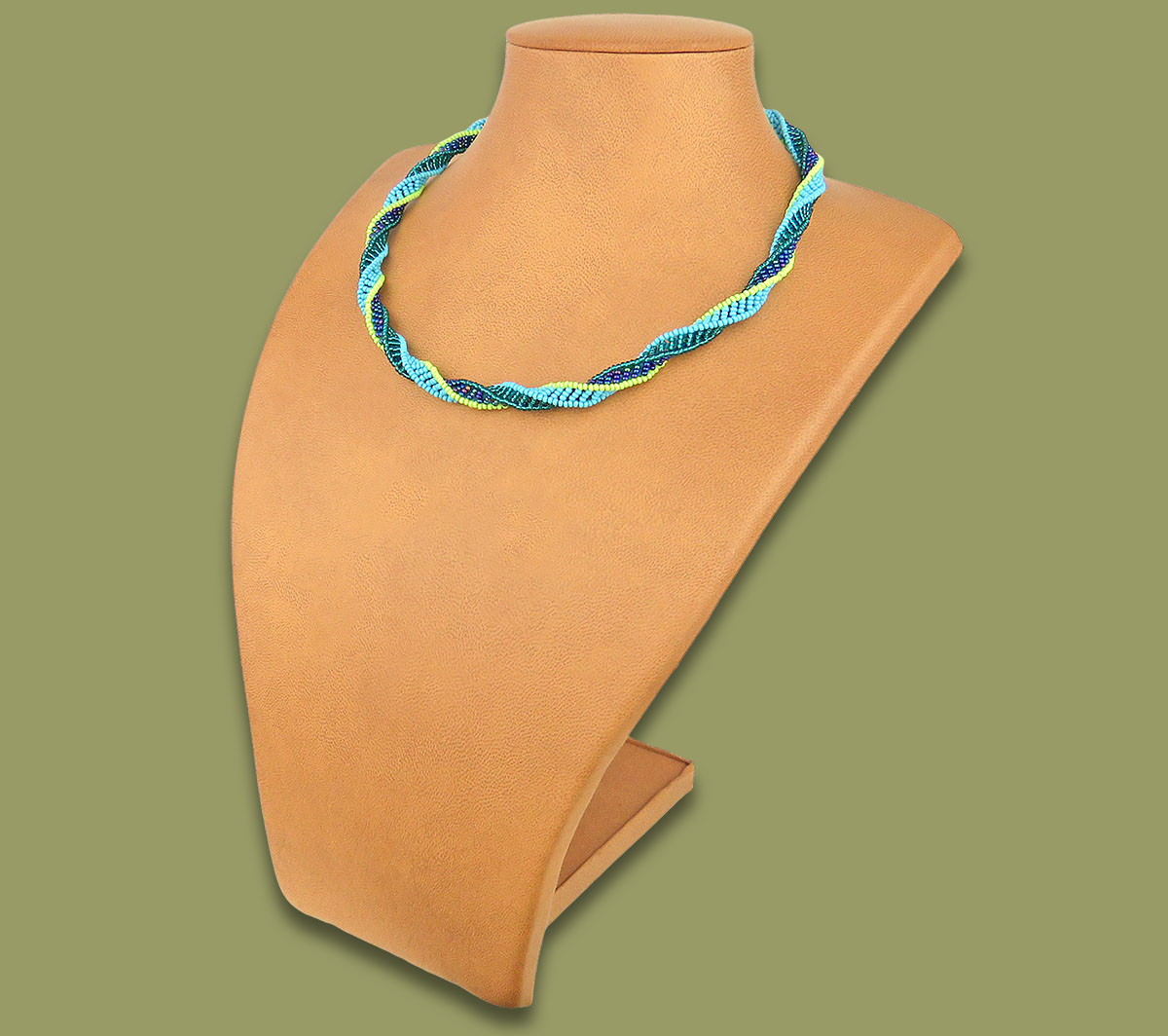Beaded Necklace Twisted Lime Navy Blue Jade
