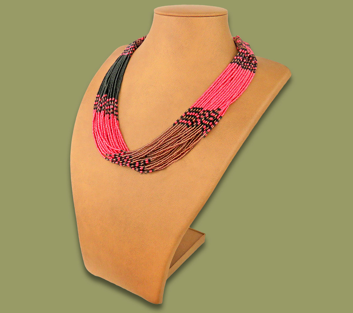 Beaded Necklace Zama Pink Copper Black