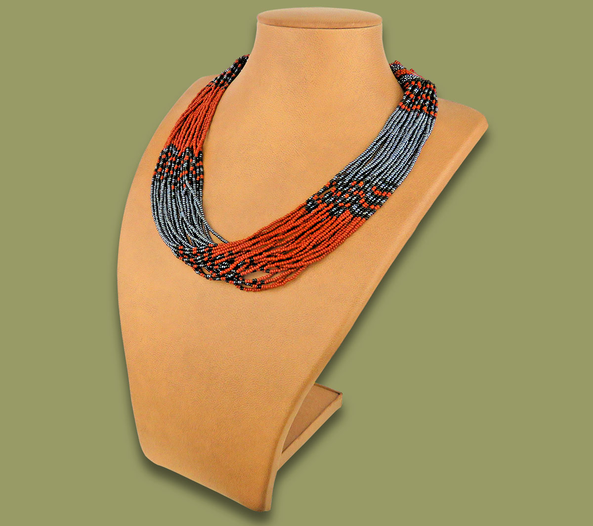 African Beaded Necklace Zama Brown Black Metallic