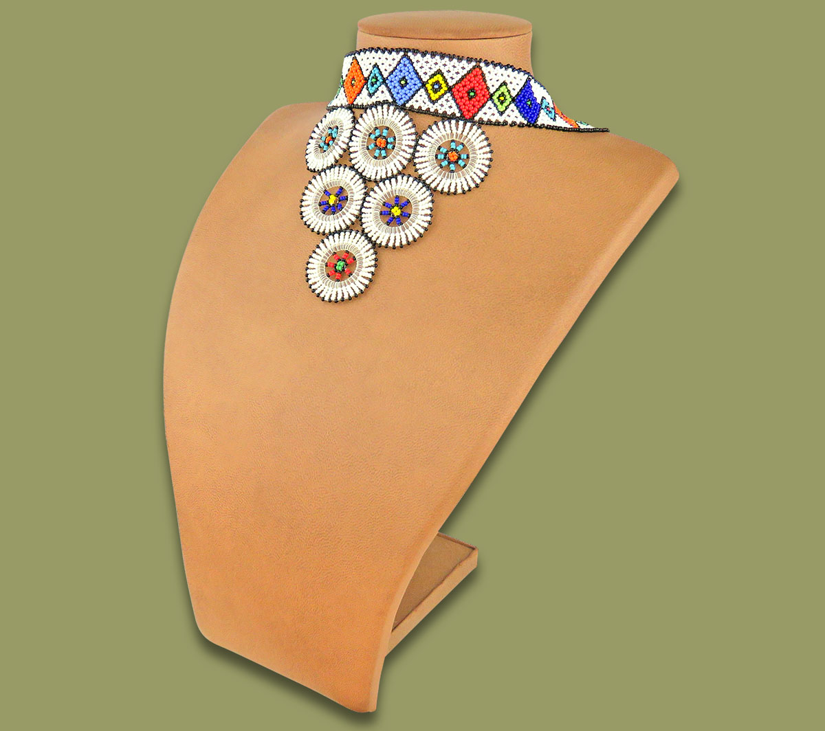 African Beaded Necklace Zulu Circle Style 2 White