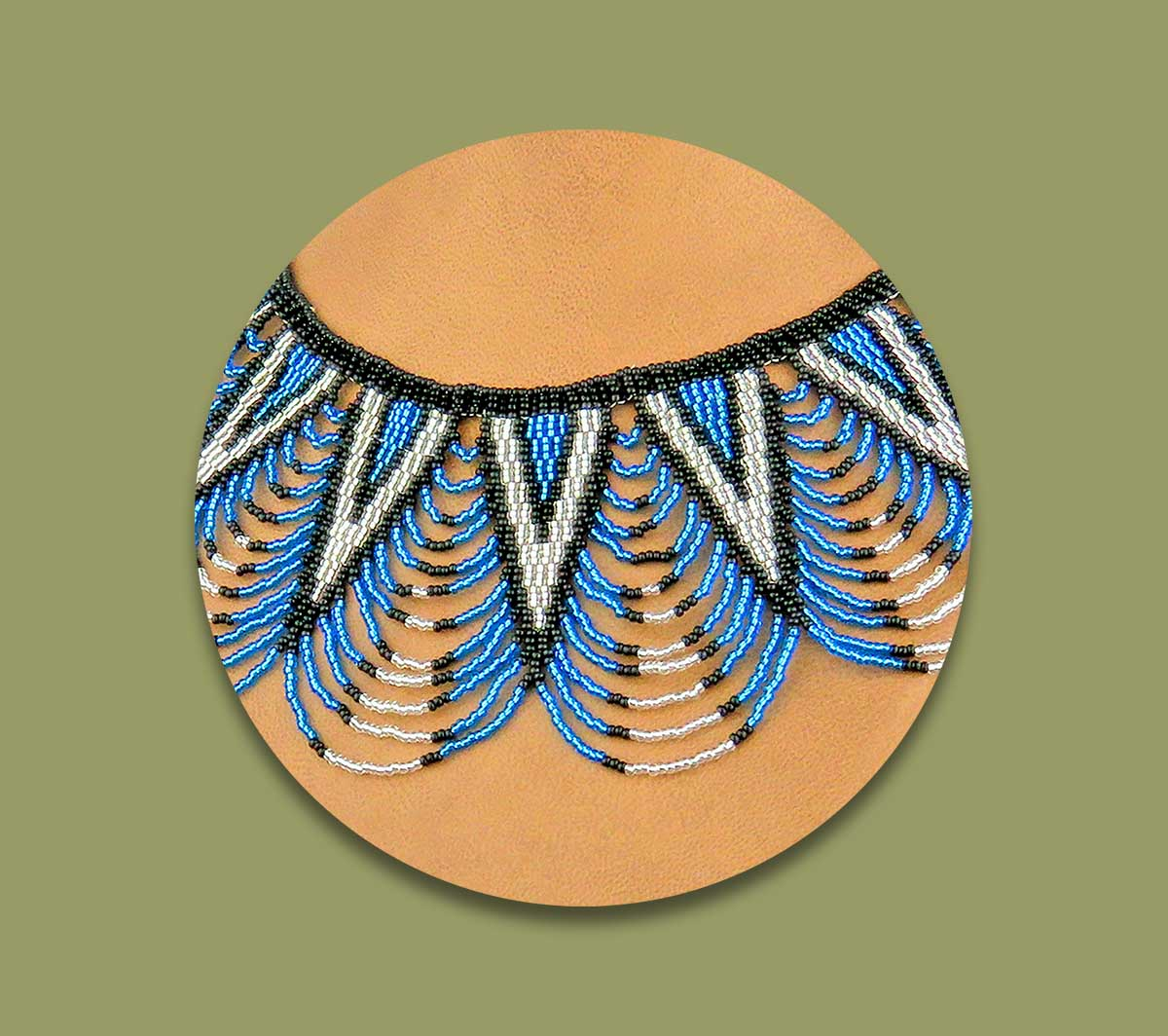 African Beaded Necklace Zulu Spear Fringe African Blue Silver Black