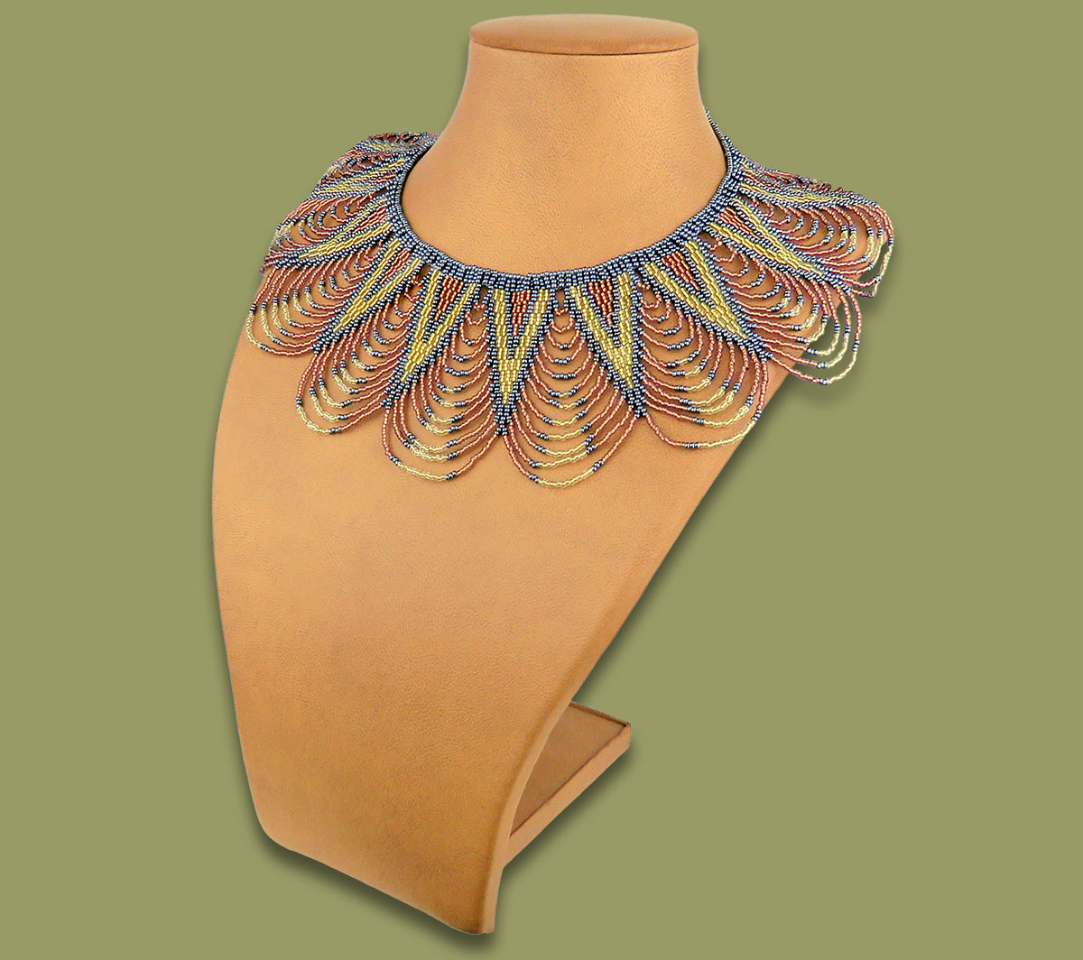 Zulu Spear Fringe Copper Metallic White-Gold