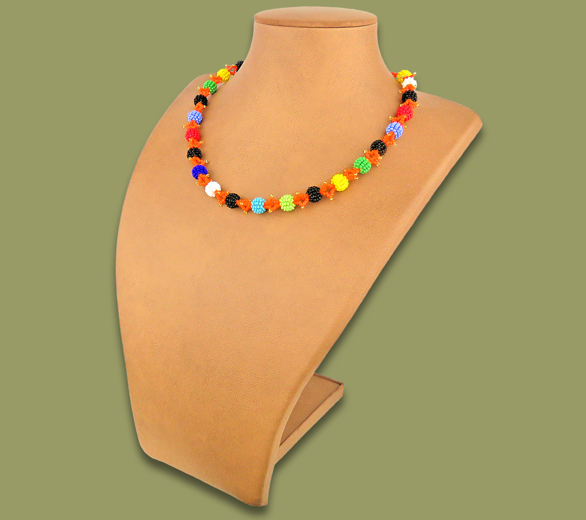 African Beaded Necklace Small Bobble Zulu Colours