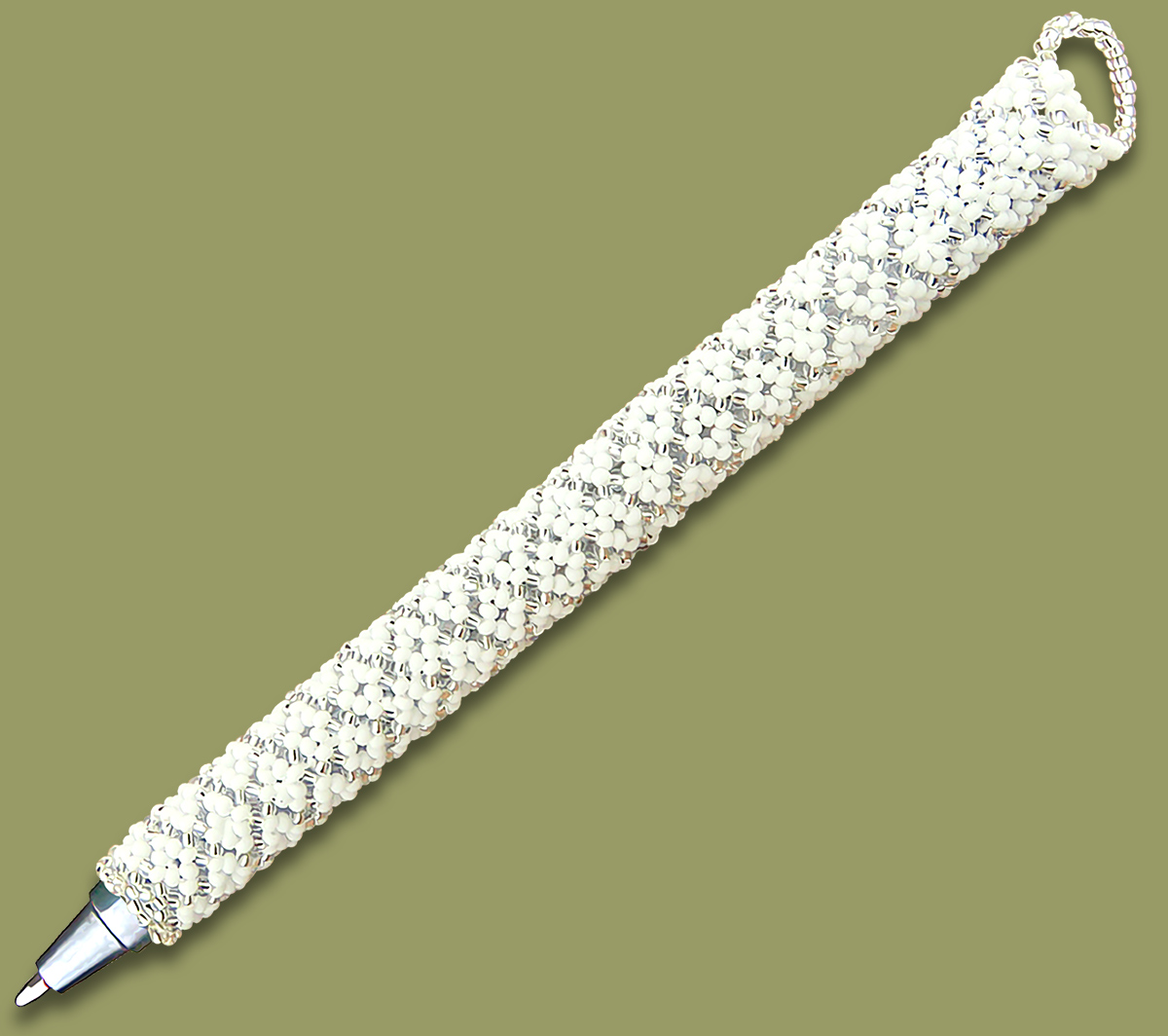 African Beaded Pen Silver White