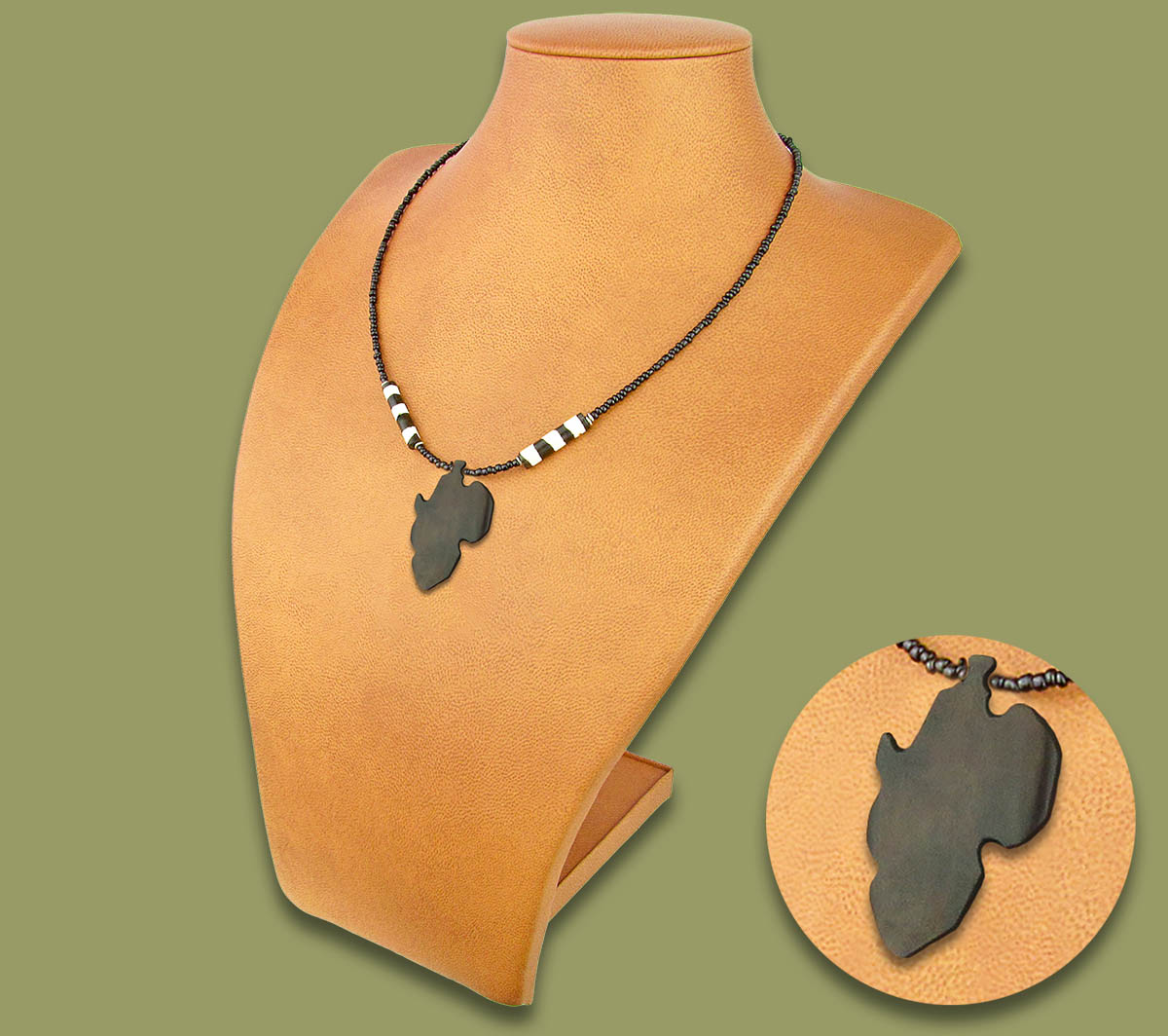 African Map Brown Bone Necklace