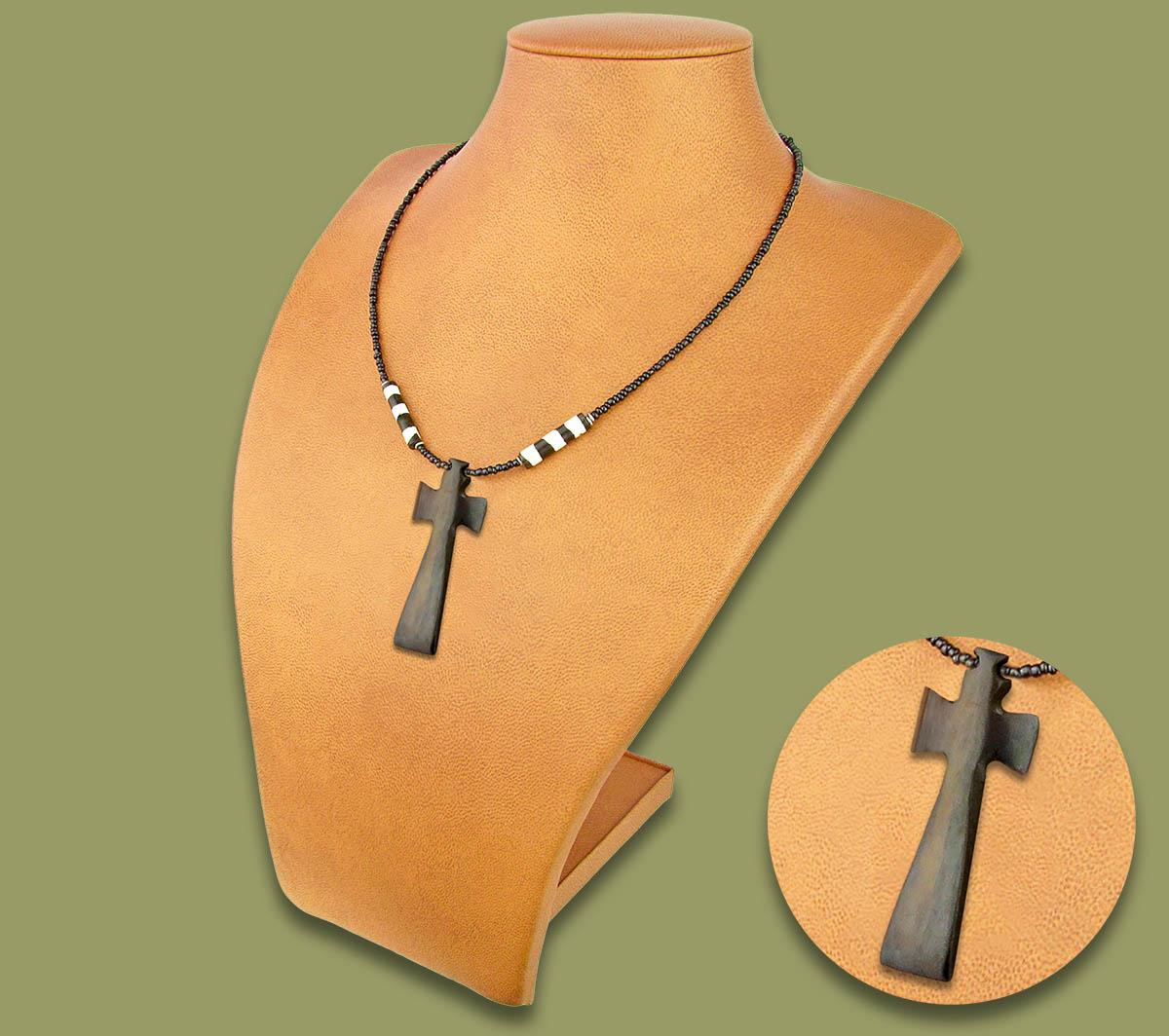 African Bone Necklace Brown Cross