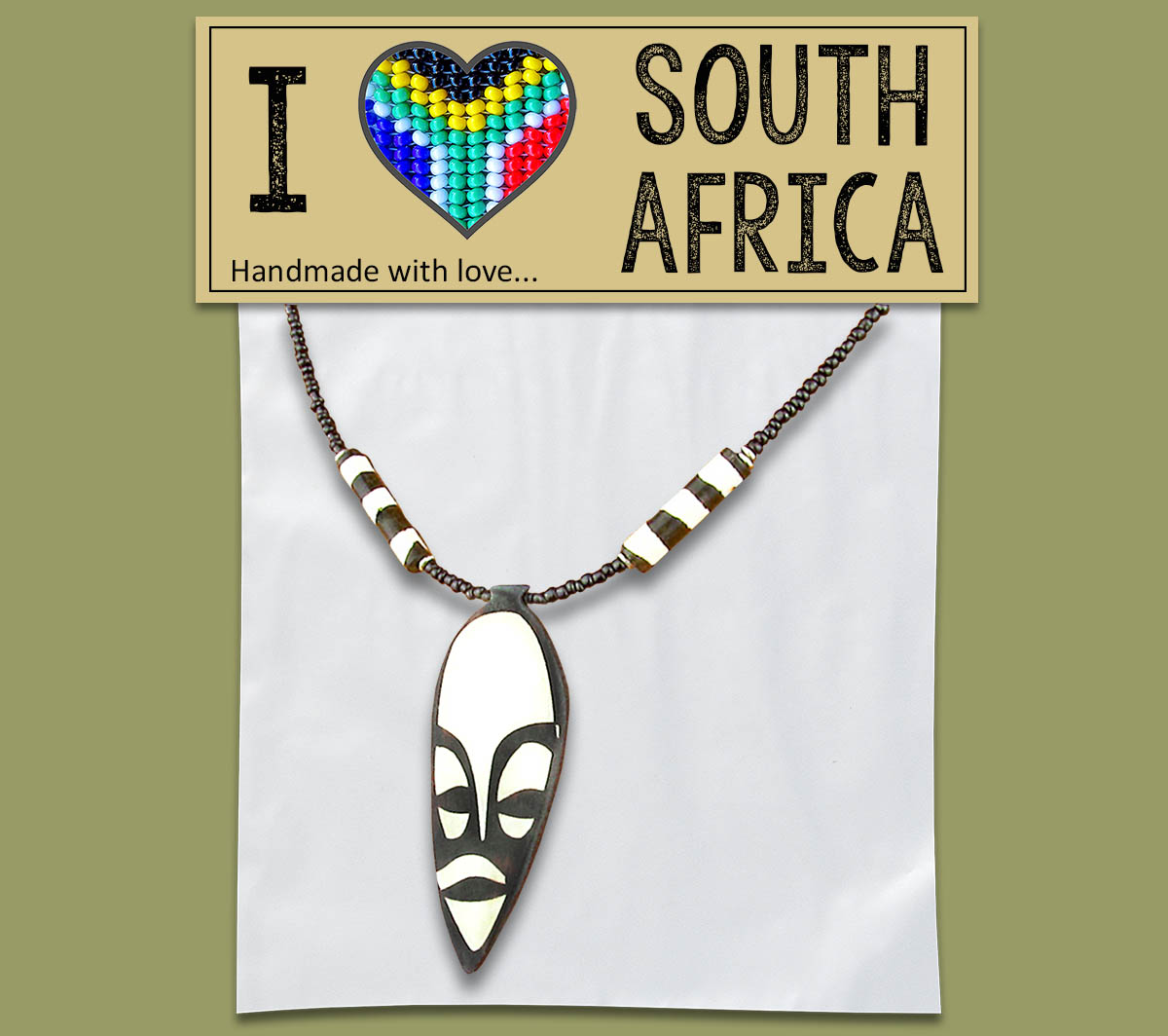 I Love SA Gift Pack - Bone Necklace Mask