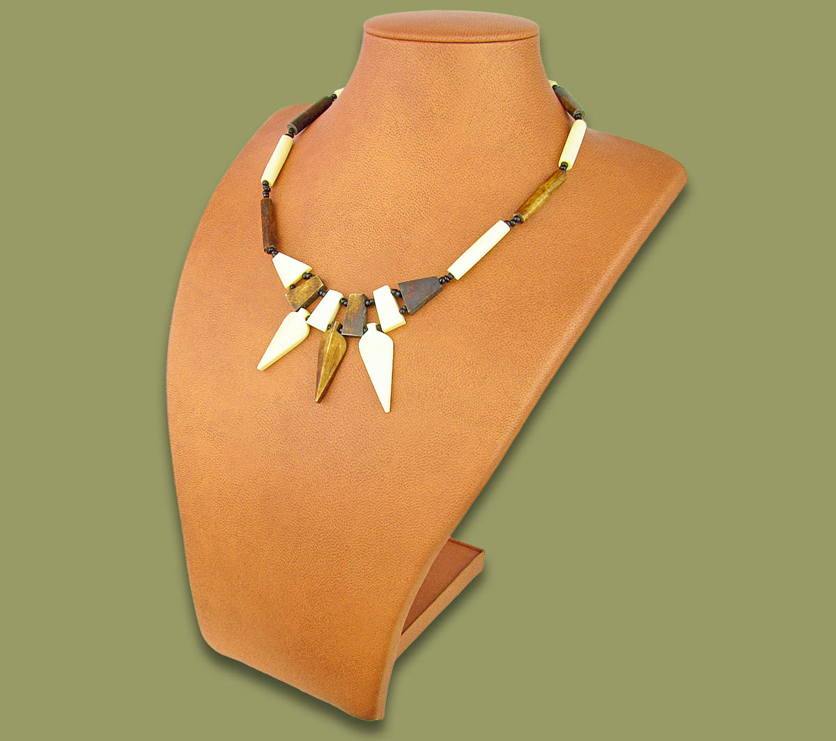 African Bone Necklace Spear Brown White