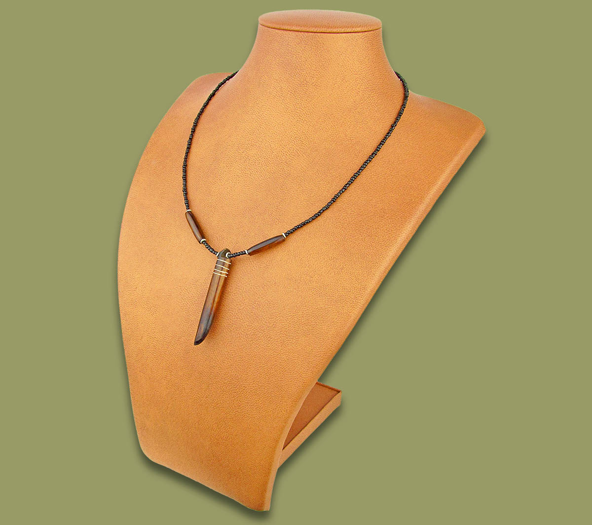 African Bone Necklace Tusk Brown