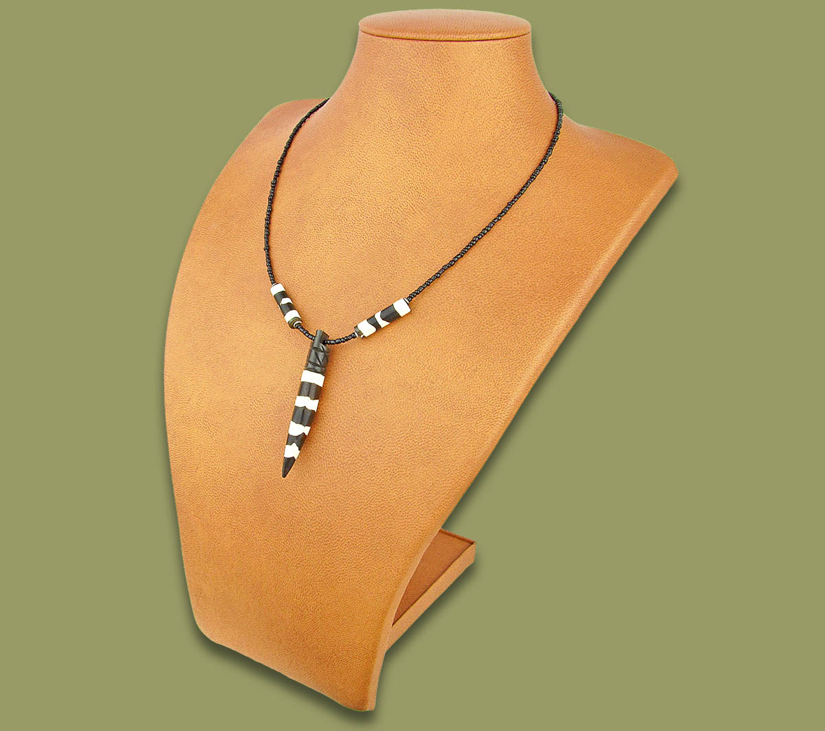 African Bone Necklace Tusk White Brown
