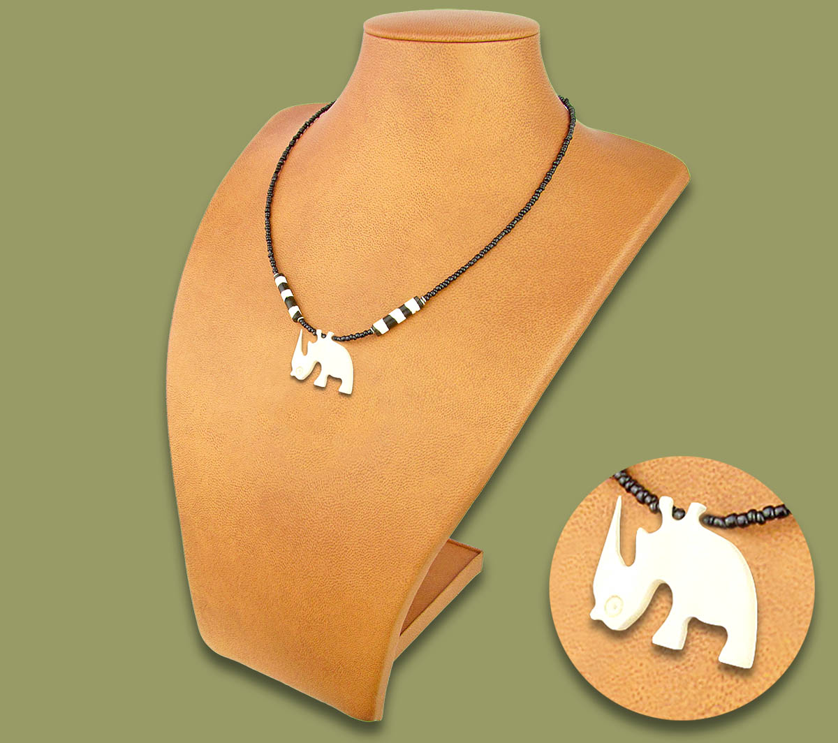 African Bone Necklace Rhino