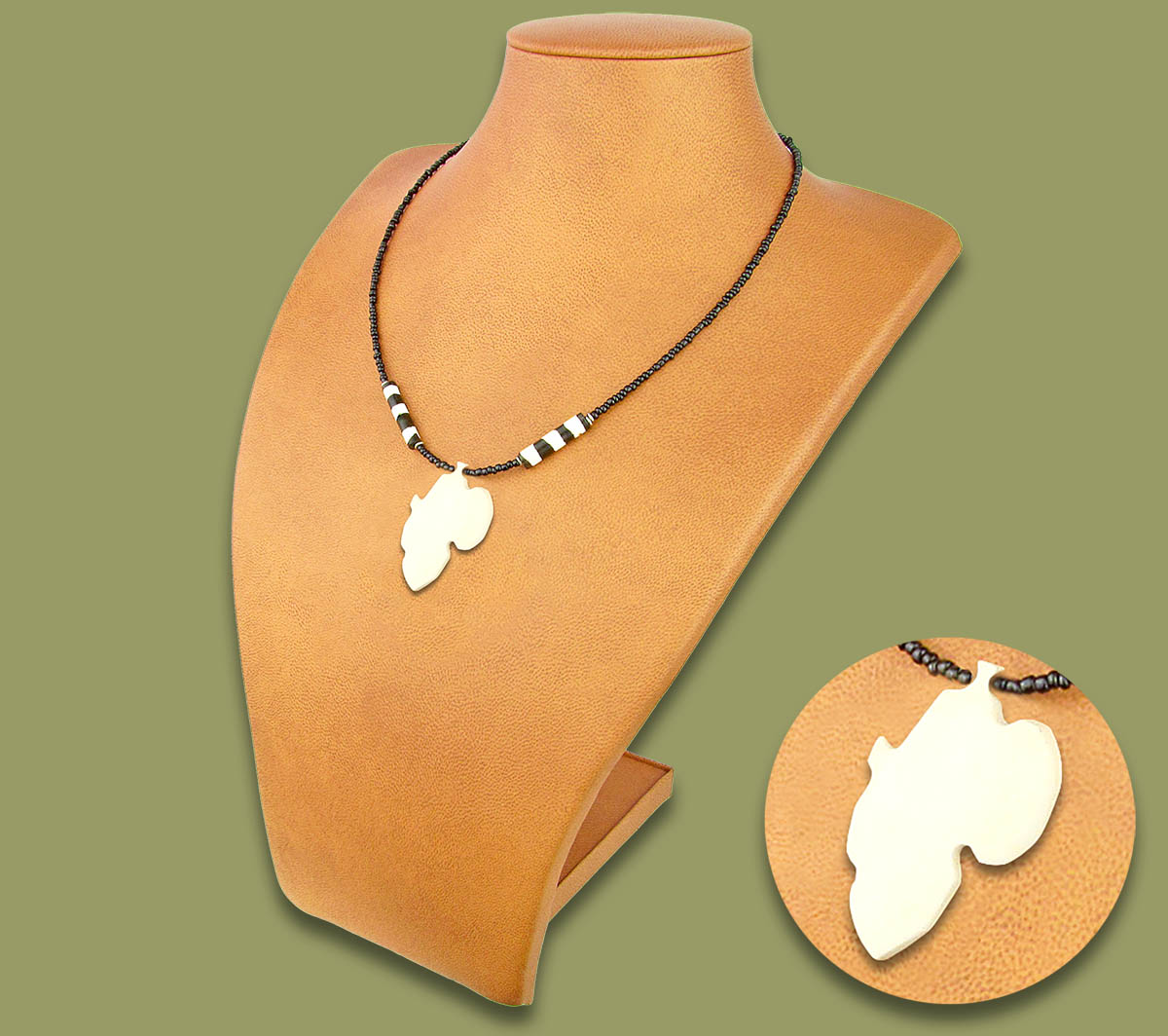 African Map White Bone Necklace