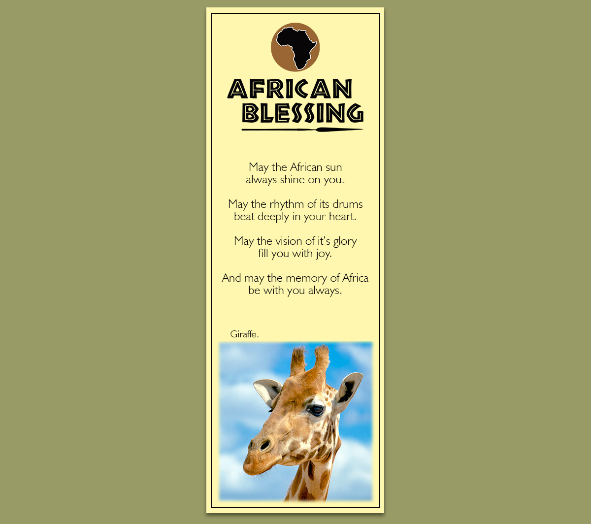 African Bookmark Giraffe