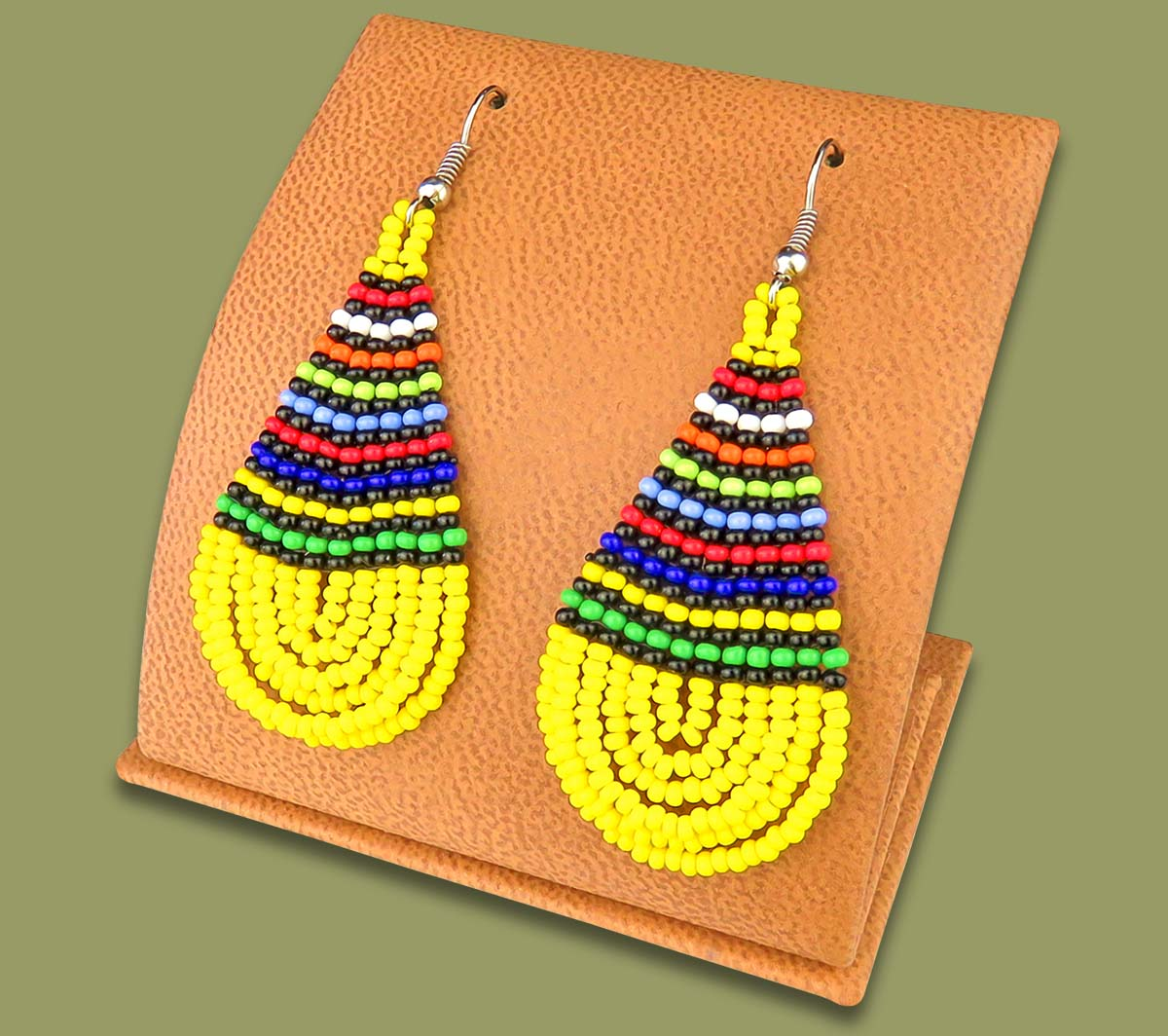 African Colors Large Tear Drop Earrings Yellow