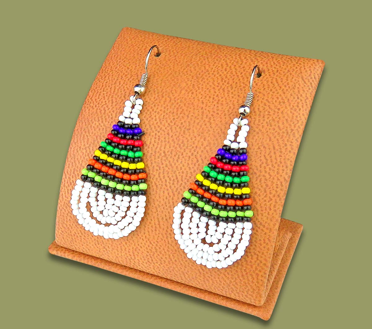 African Colors Small Tear Drop Earrings White